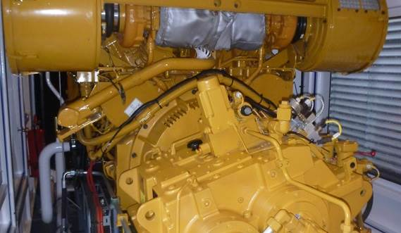 The dredge pump drive is a Caterpillar diesel engine