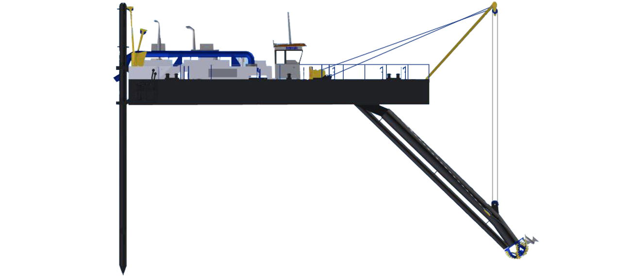 The heavy duty 80 kN side wire winches ensure efficient dredging operations at any location