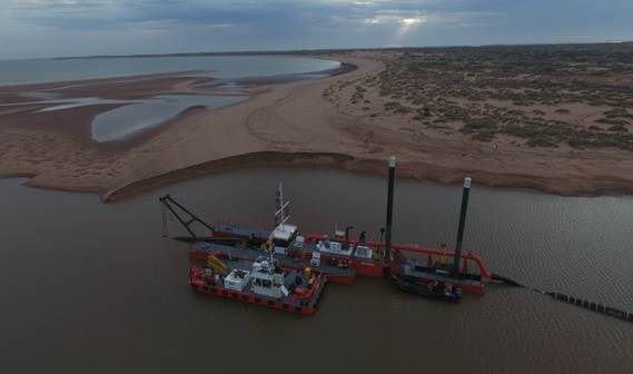 "The ""Pilbara Sawfish"" is a modular CSD500 dredge which will carry out capital dredging works on the Onslow project in Western Australia."