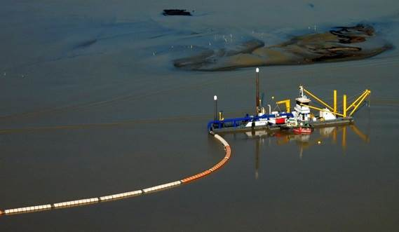 A Damen Cutter Suction Dredger 500 at work