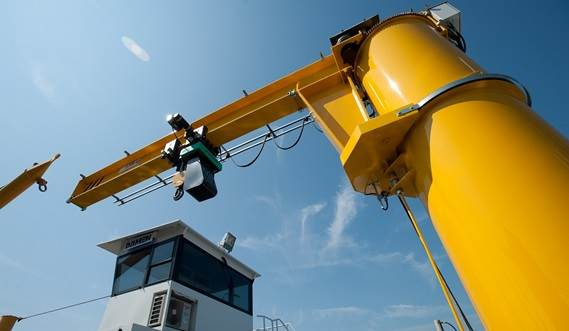 A jib crane is installed for safe and practical maintenance