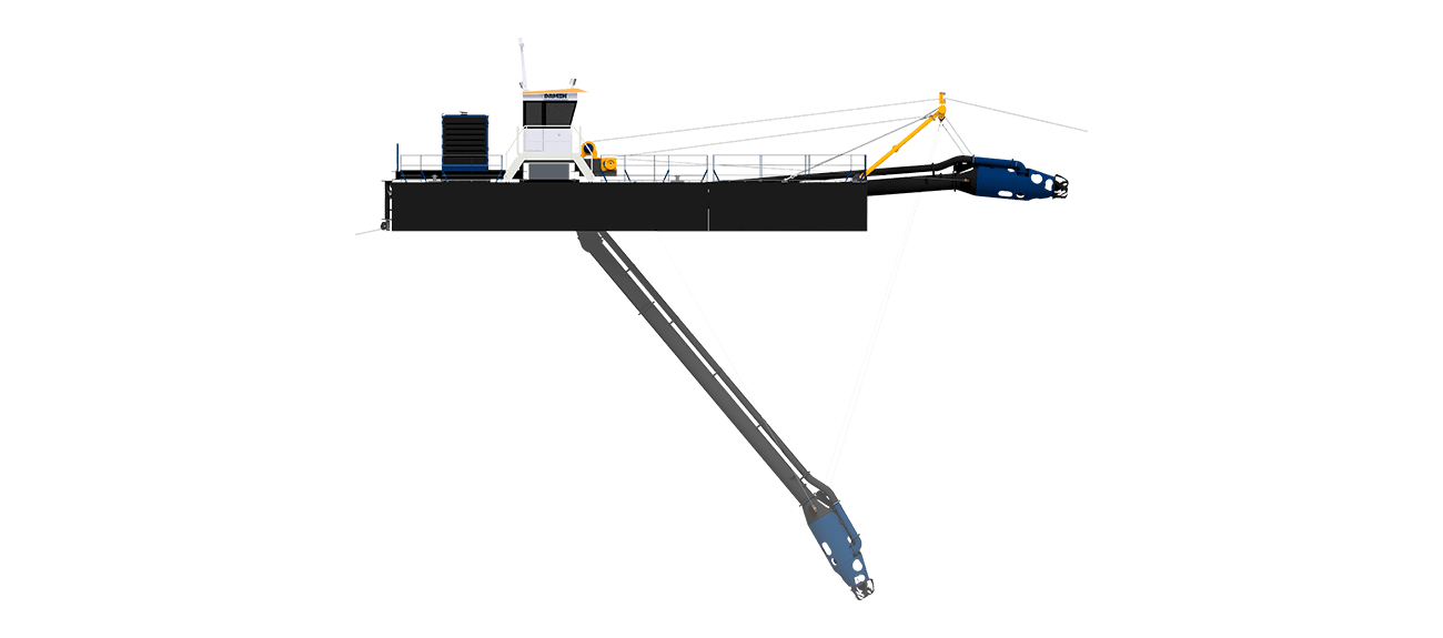 A practical modularly constructed dredger for maintenance and mining purposes of compacted sediment in shallow waters.