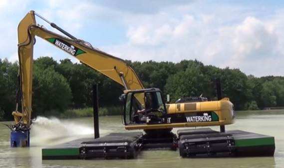 An instant dredger by connecting a DOP to an excavator