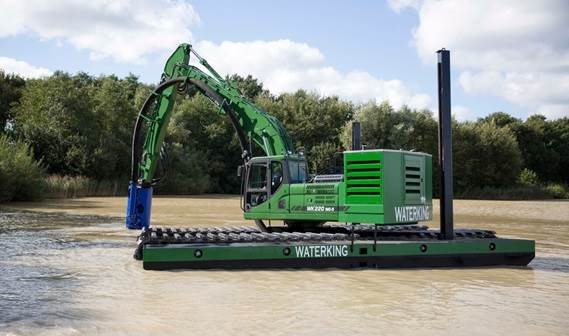 The DOP is connected to an amphibious dredger to tackle difficult spots