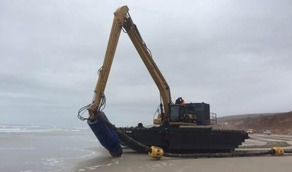 DOP250 with cutter unit attached to an amphibious excavator