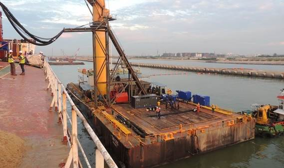 Project overview from bulk carrier to pontoon based jet water sets and sand deposit