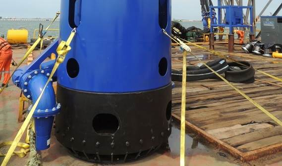 The DOP with leveler head is fitted out with supplementary water jets