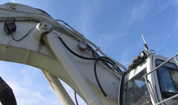 Crane boom with inclino sensor for determining the DOP position