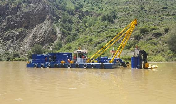 The Dop Dredger will use the DOP350L to clean up the silted reservoir