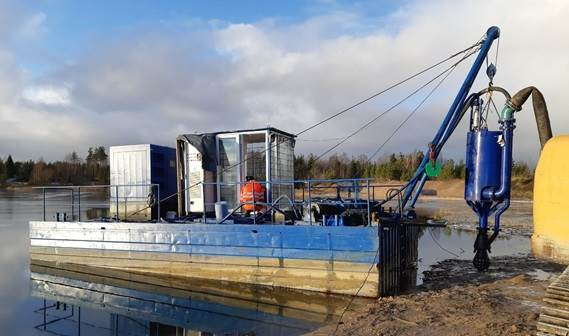Installation works in progress on the electric drive of the dredge pump