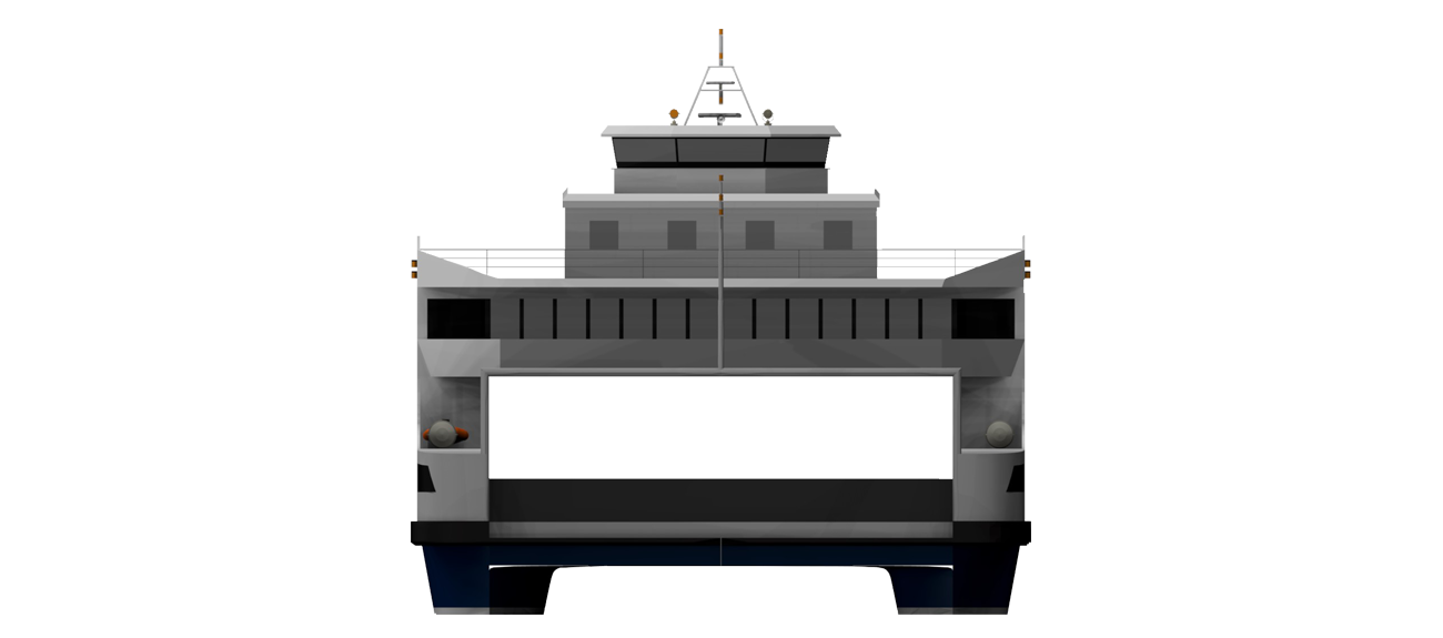 The double ended ferry design reduces the need for high top speeds.