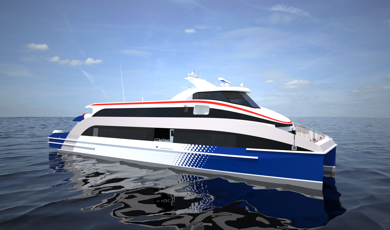 Ferry achieved through low fuel consumption and optimum passenger seat arrangement