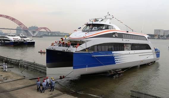 Launching of Fast Ferry 4010 CPP version