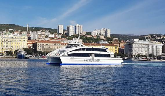 "The Damen Fast Ferry 4212 ""Jelena"" is part of the fleet of Croatian operator Jadrolinija"