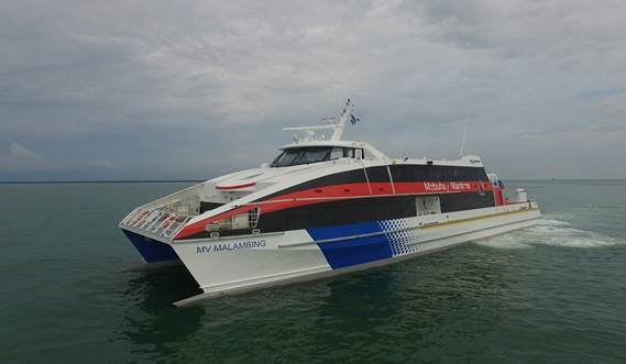 "Two 42-metre fast passenger ferries ""Malambing"" and twin vessel ""Magalang"" are operating from Kalibo to Boracay island in the province of Aklan."