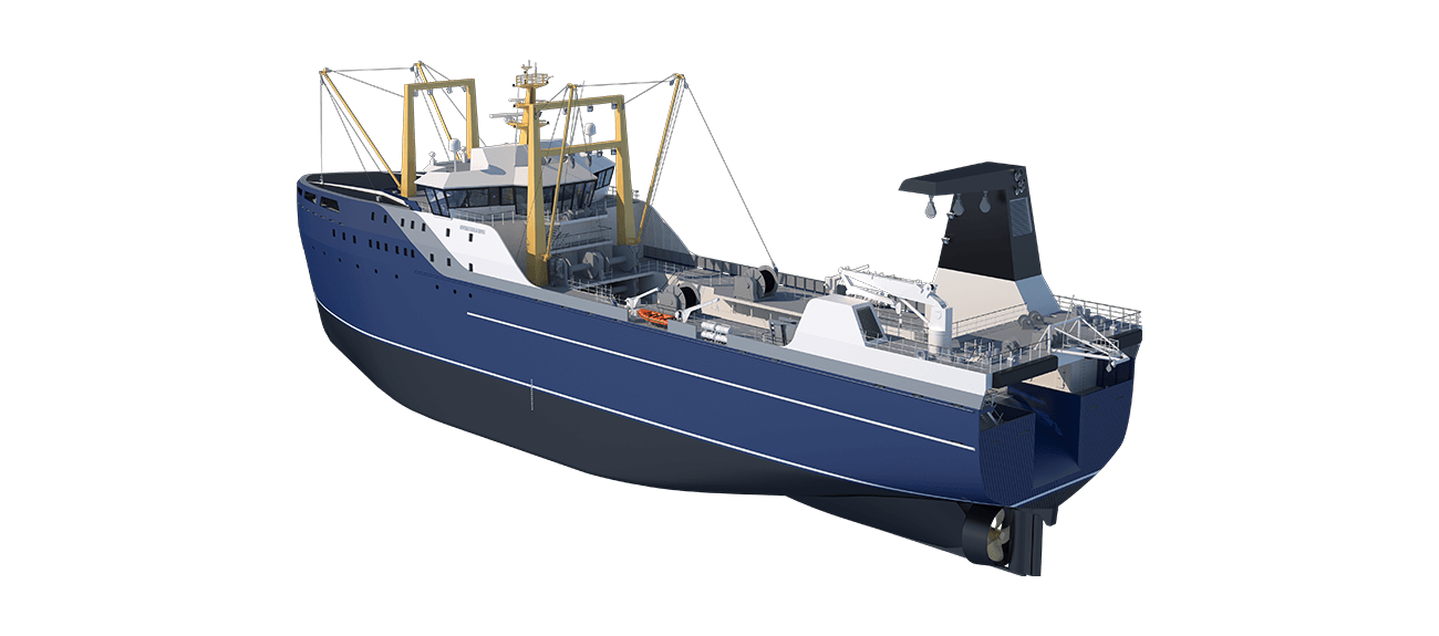 Damen Factory Trawler 105 perspective aft PS