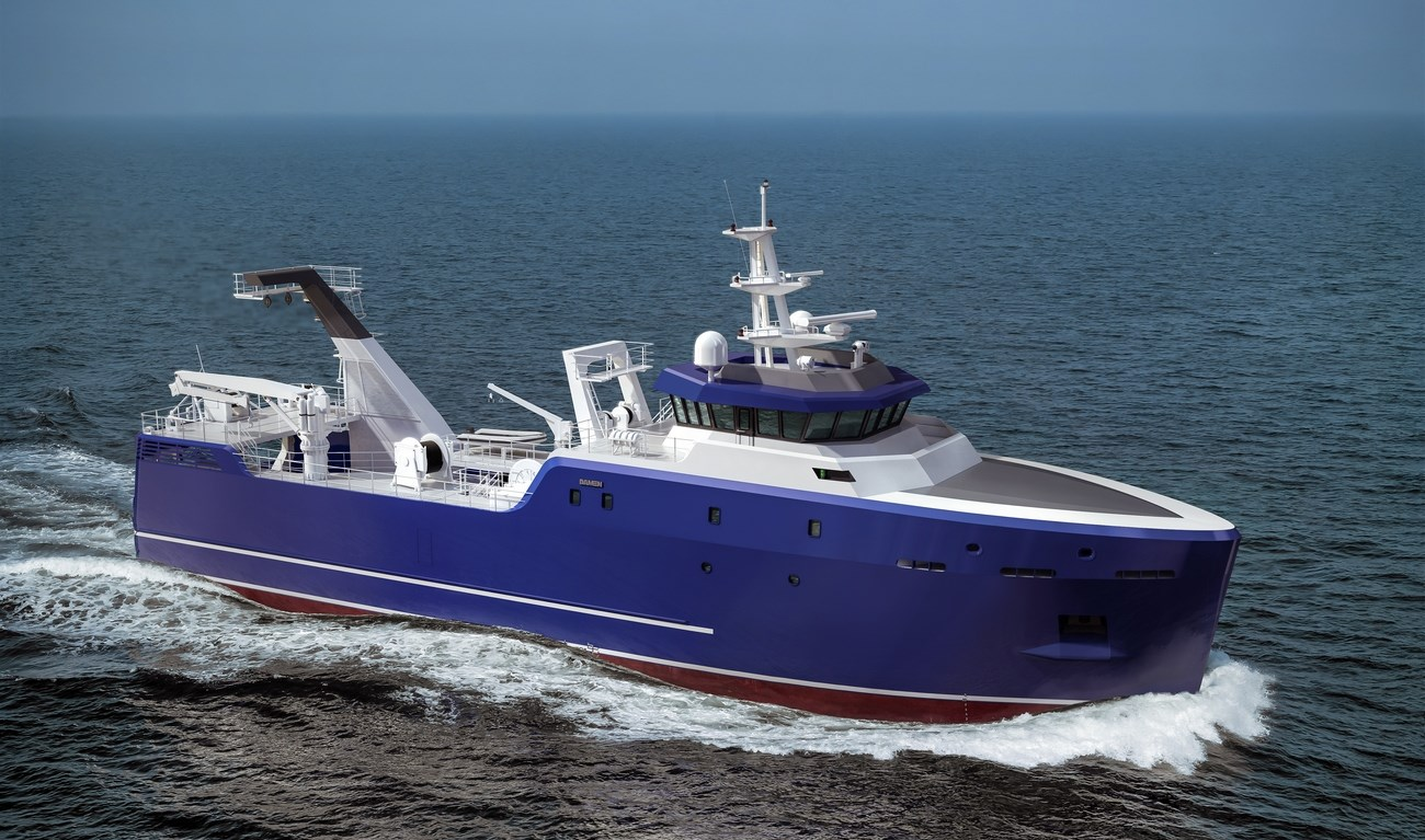 Stern trawler for bottom and pelagic trawling, processing, freezing and packing of the product, storage on board.