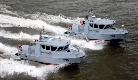 Twin water jet propulsion units give these craft excellent manoeuvrability at high speeds