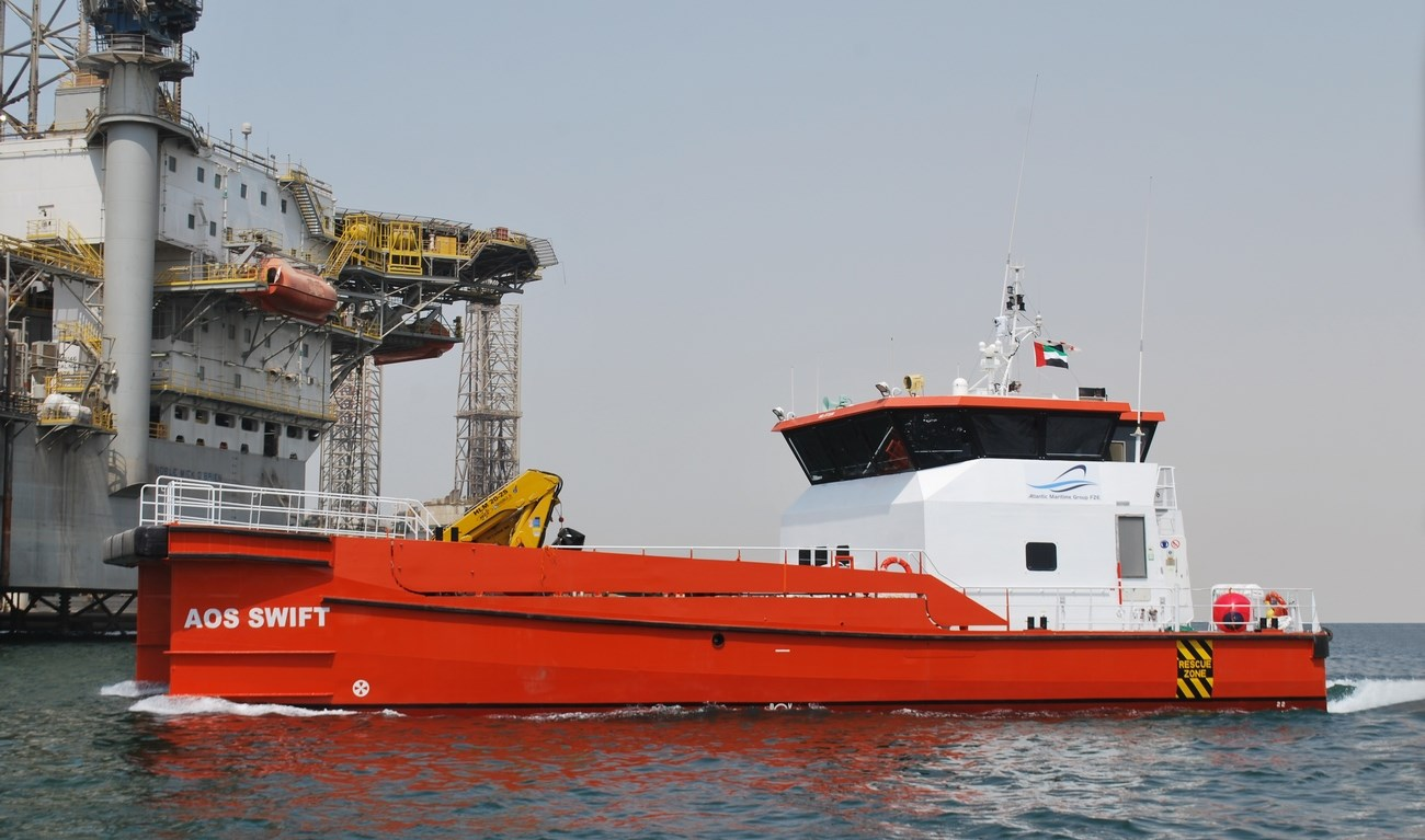 Damen Shipyards Group has delivered a Damen Fast Crew Supplier (FCS) 2610 workboat, named AOS SWIFT for the Atlantic Maritime Group on 20 August 2015.