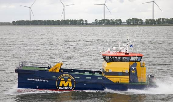 the 'Marineco Dignity', a Damen FCS 2610, was handed over to Mike Conafray, Director of MarineCo UK Ltd