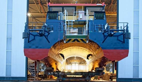 The first of two Damen Twin Axe Fast Crew Suppliers has officially been handed over to British company Sure Wind