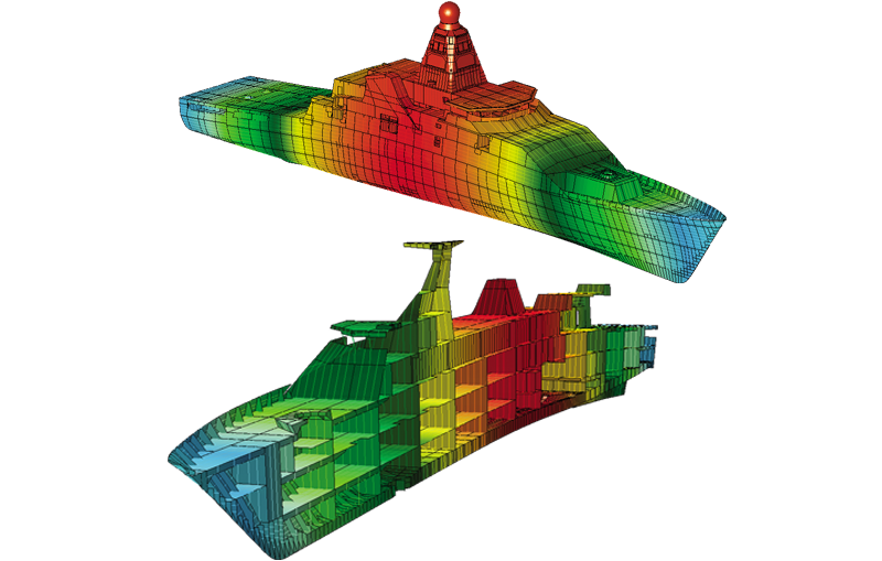 Joint support ship for multi mission naval support for Finite element methode