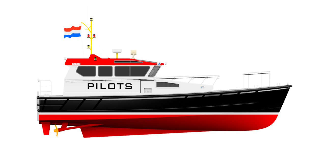 The bow shape ensures good seakeeping performance in heavy seas