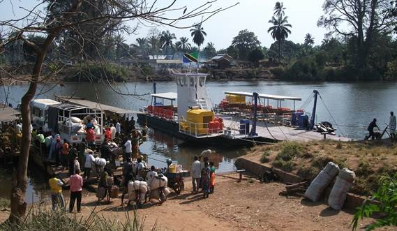 This fit-for-purpose ferry is in service on a river crossing on the Malagarasi river.