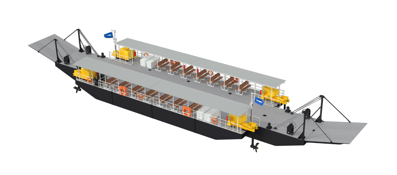 Modular Ferry with 46.2 m length and 9.8 m beam