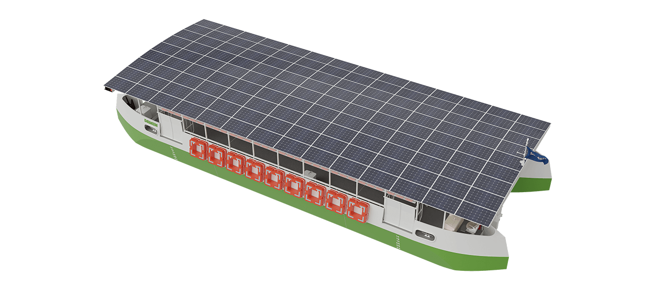 Electric solar powered ferry