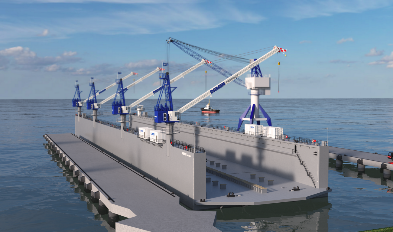 Modular Floating Drydock 17526 for vessels up to 7,500 t and up to 50 tonnes per metre keel load