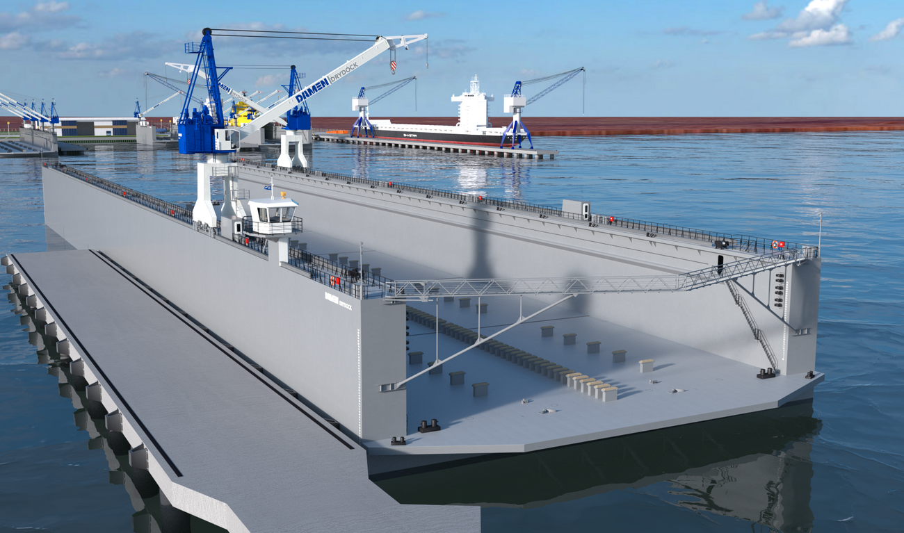 Modular Floating Drydock 18036 for vessels up to 16,500 t and up to 100 tonnes per metre keel load