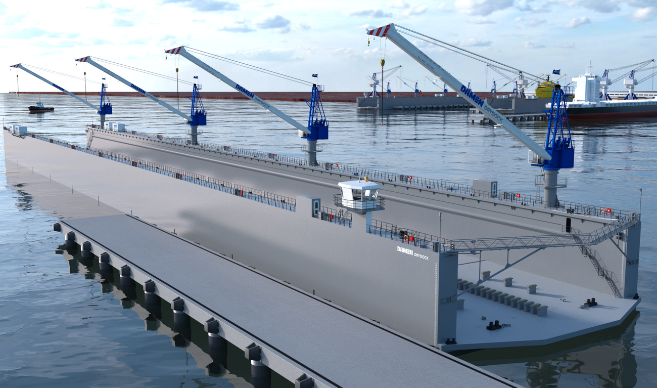 Modular Floating Drydock 24526 for vessels up to 10,600 t and up to 50 tonnes per metre keel load