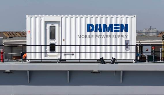 The drydock is provided with Damen Mobile Power Supply containers for an autonomous operation.