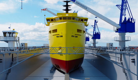 The drydock floor is specially designed for carrying heavy loads.
