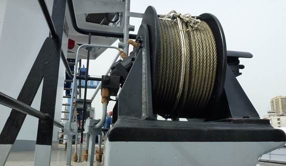 The drydock is equipped with heavy mooring winches for positioning the vessel in the drydock.