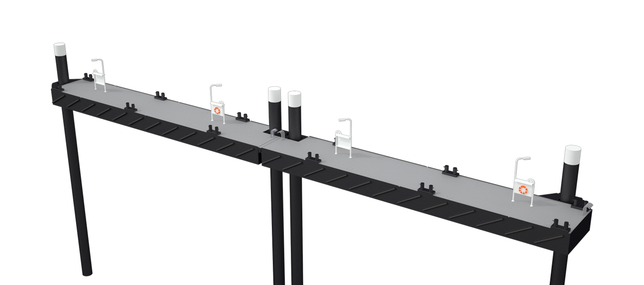 Modular Jetty can be outfitted with lighting, shore connection for electrical power, bollards and fendering