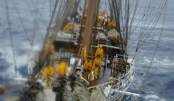 Sail Training Vessel 2630 'Cisne Branco' at sea in heavy weather