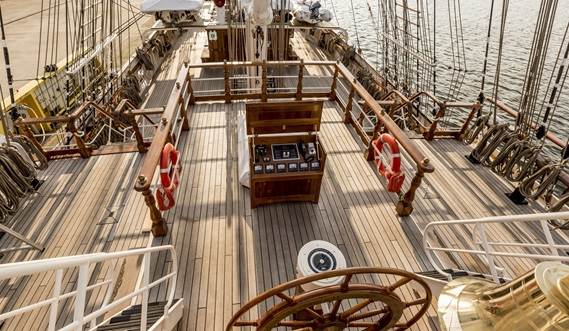 Sail Training Vessel 2630 'Shabab Oman II' bridge deck