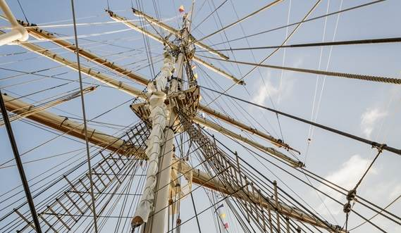 Sail Training Vessel 2630 'Shabab Oman II' view of the mizzen mast