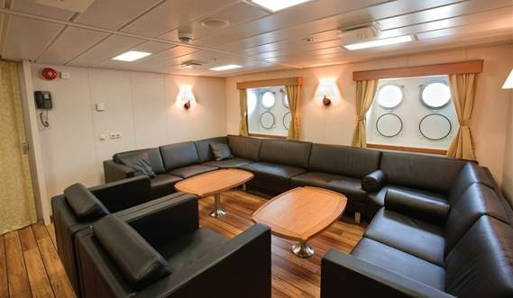 he vessel design provides high level of safety and comfort.