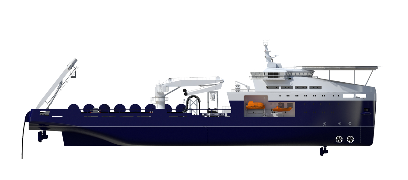 The vessel is capable of laying cable in typical North Sea conditions and a high operability.