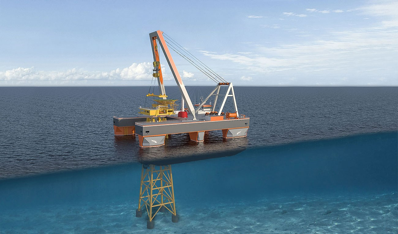 Compact Semi Submersible Lift Vessel 8655 to perform offshore heavy lift operations and other offshore support tasks