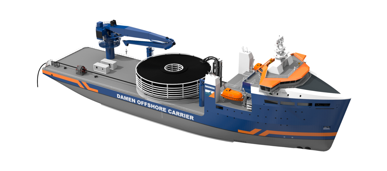 Its 2,300 m² platform with 20 t/m² load capacity can be used for a wide variety of offshore installation work such as cable laying, subsea or floatover installation and other methods.