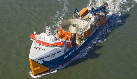 delivery by Damen of an innovative new DOC 8500 cable laying vessel to international offshore contractor Van Oord