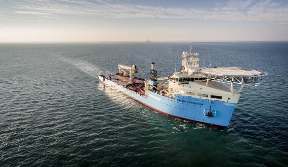 Built at Damen Shipyards Galati in Romania, Maersk Connector is the second of a new generation of cable-laying vessels