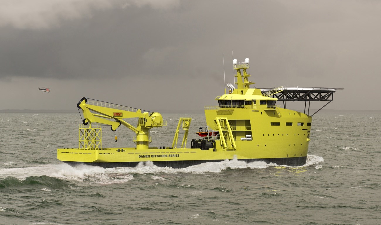 Offshore Support Ship with Active Heave Compensated subsea crane
