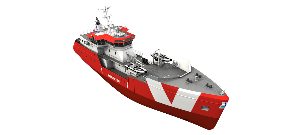 The optimised hull design of this rescue ship guarantees comfortable seakeeping behaviour for long periods at sea.