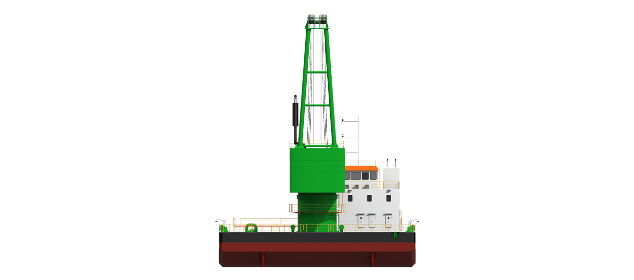 Floating Crane for construction of heavy marine works, jetties, mono piles,  or for lifting of heavy topsides and pipe rack units.