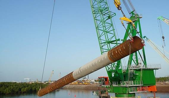 Handling and positioning mono piles